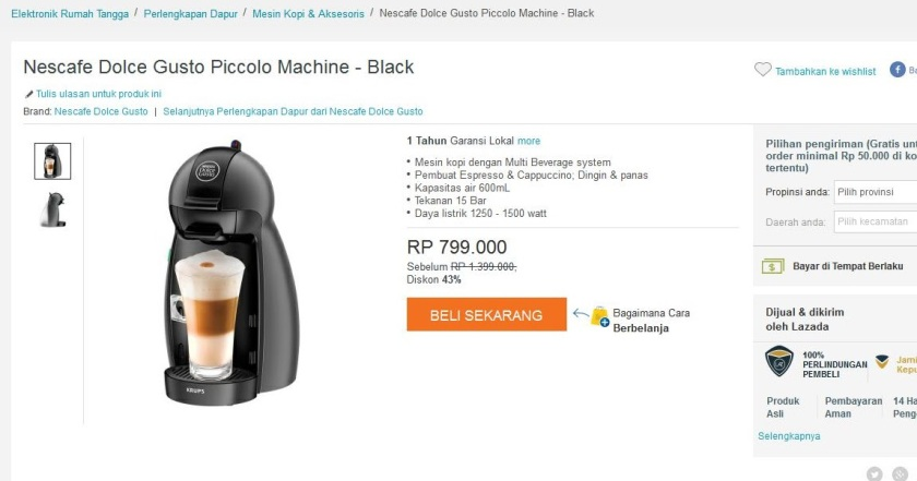 promo lazada nescafe dolce gusto piccolo machine black. Black Bedroom Furniture Sets. Home Design Ideas